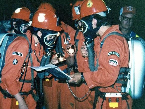 Group of mine rescue volunteers 1970s