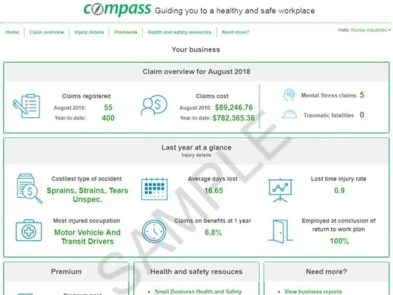 WSIB Compass Phase 2 sample page