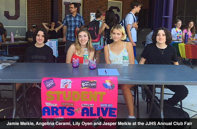 Jamie Meikle, Angelina Cerami, Lily Oyen and Jasper Meikle at the 2018 JJHS Annual Club Fair