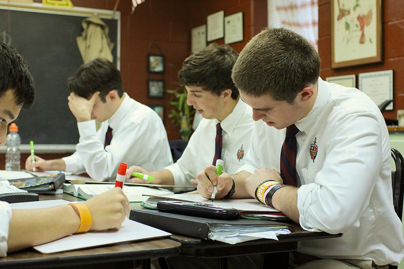 Upper School Boys studying