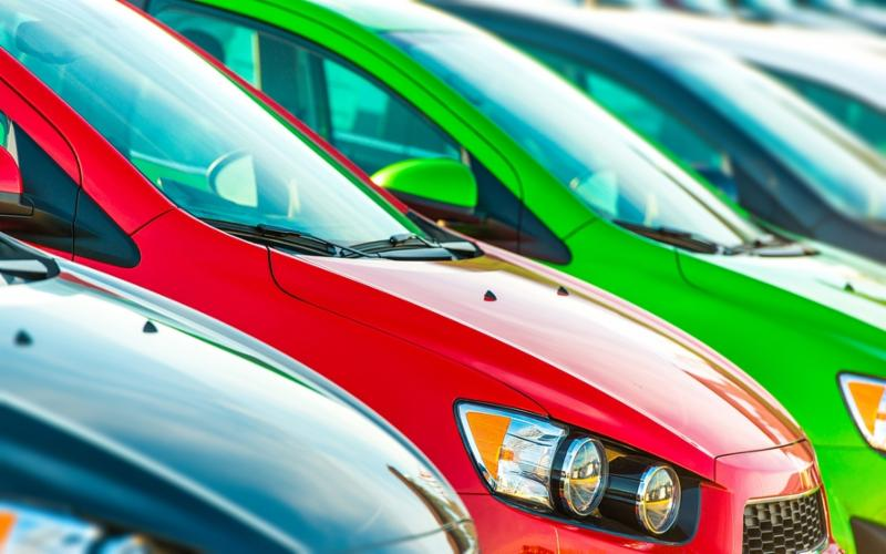 Cars Marketplace. Car Dealer Colorful Cars Stock.     Note  Shallow depth of field