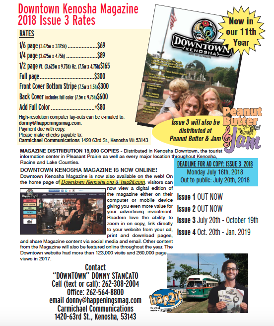 Downtown Kenosha Magazine Rates