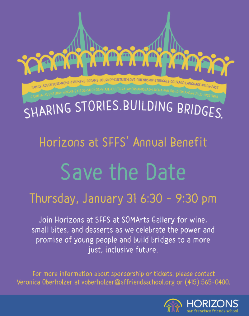 Save the date for Horizons' annual benefit on January 31, 2019 at SOMArts Gallery.