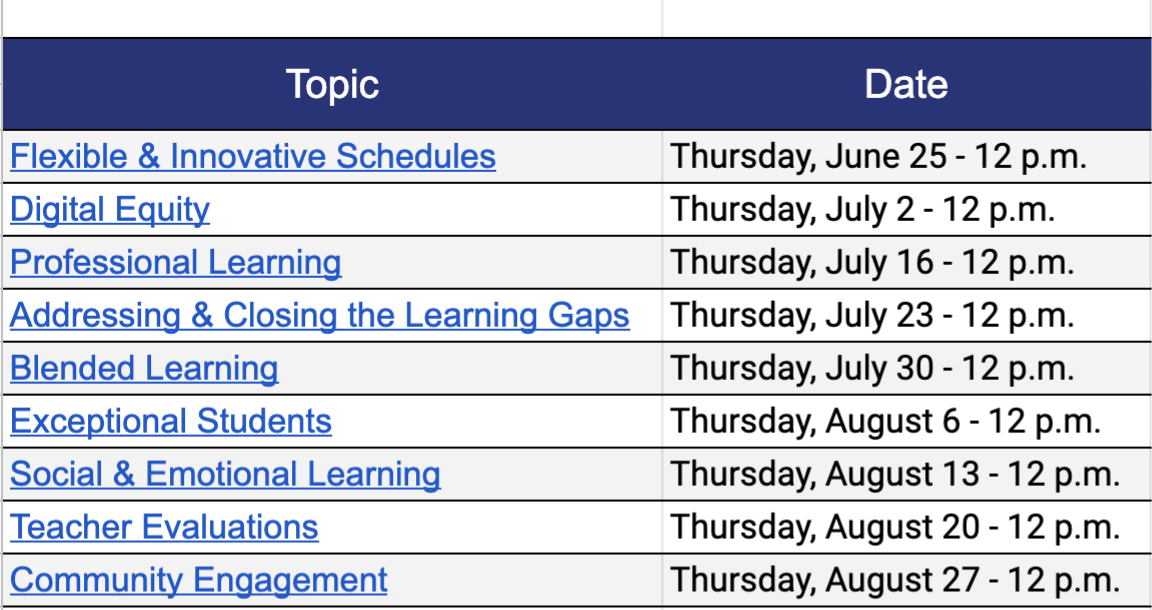 Flexible & Innovative Schedules- 6/25 Digital Equity- 7/2 Professional Learning- 7/16 Closing Learning Gaps- 7/23 Blended Learning- 7/30 Exceptional Students- 8/6 Social Emotional Learning- 8/13 Teacher Evaluations- 8/20 Community Engagement- 8/27