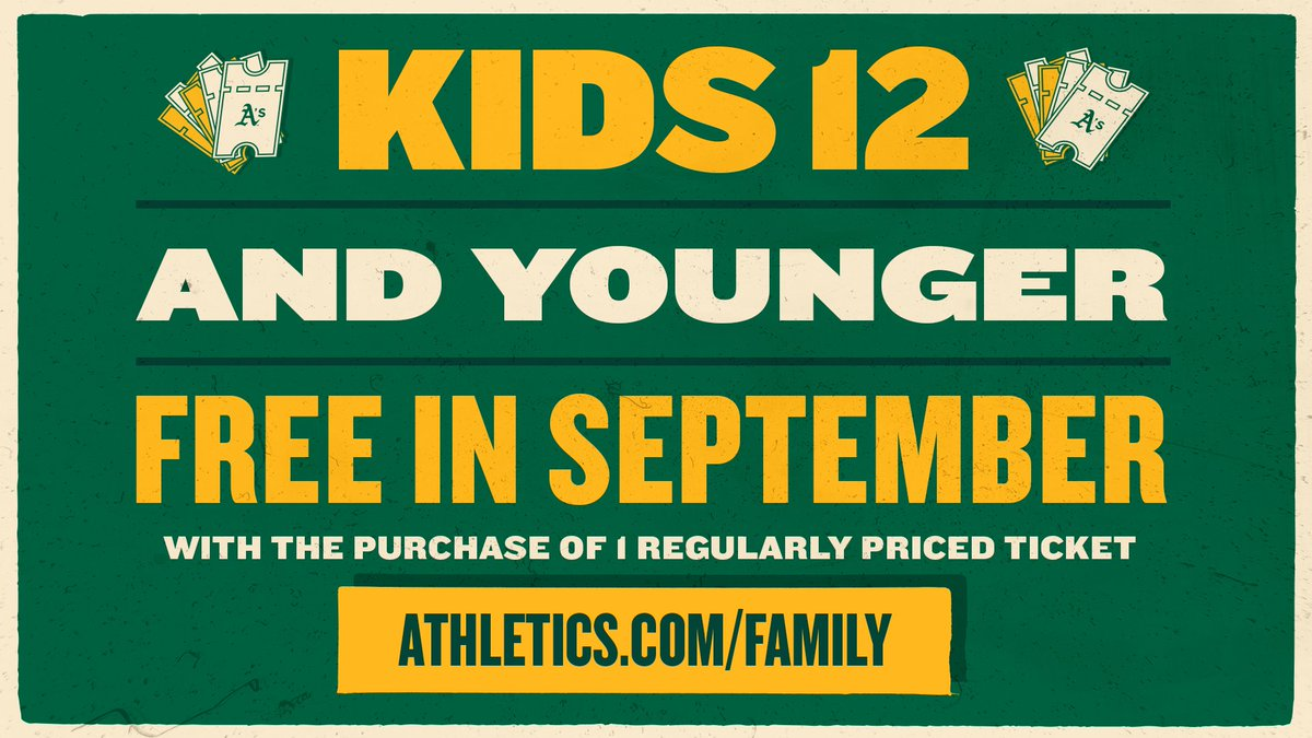 Kids Get in Free in September at Oakland A's home games