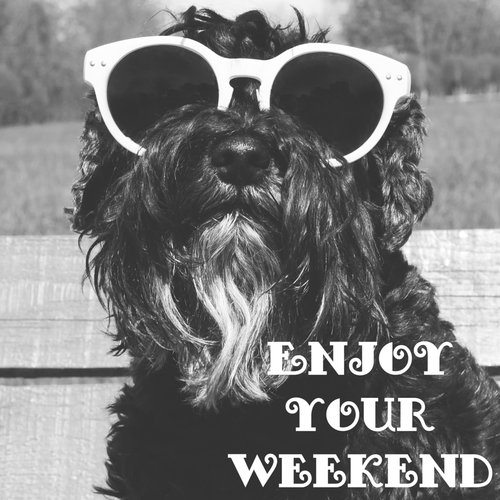 Dog in sunglasses with text  Enjoy your weekend