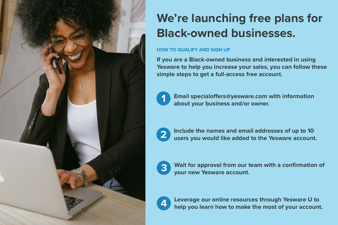 Yesware infographic with instructions on signing up for free plan for black-owned businesses.