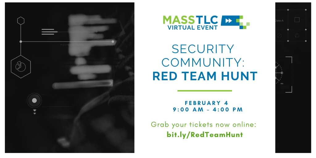Security Community Event: Red Team Hunt Graphic - Feb. 4, 3-4PM Register at: bit.ly/RedTeamHunt