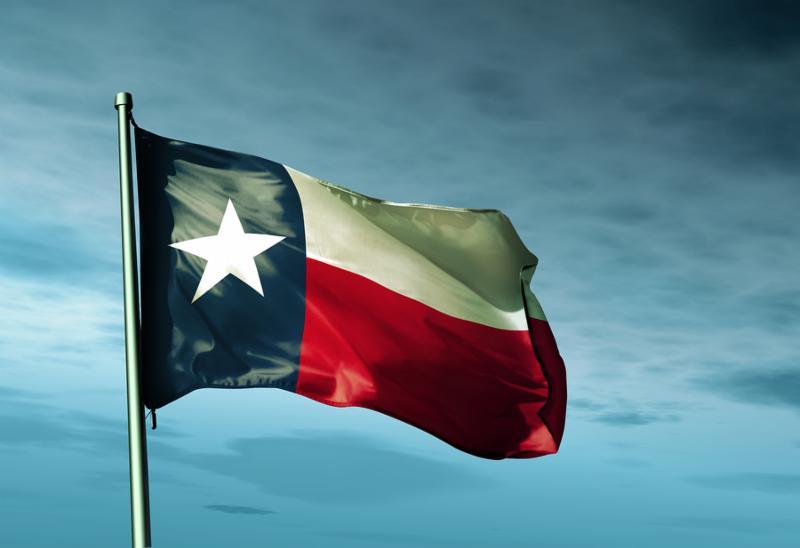 Texas  USA  flag waving on the wind