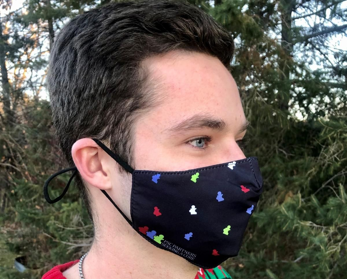 PSC Patient wearing a PSC Partners face mask