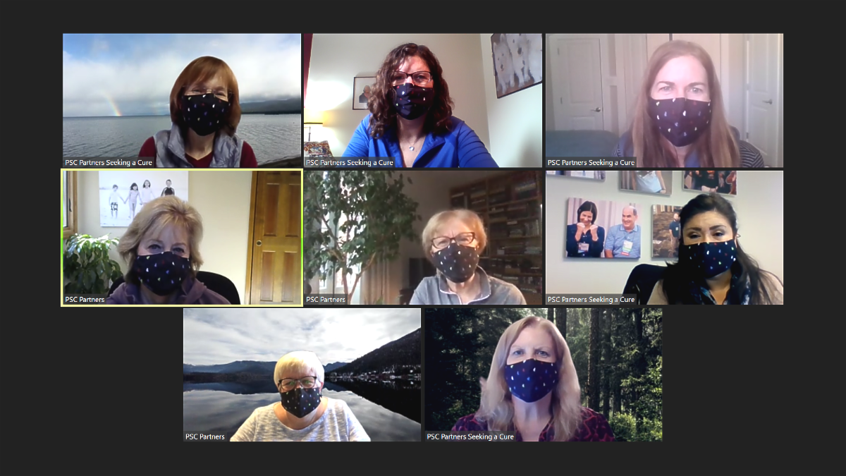Screenshot of PSC Partners staff wearing PSC Partners face masks