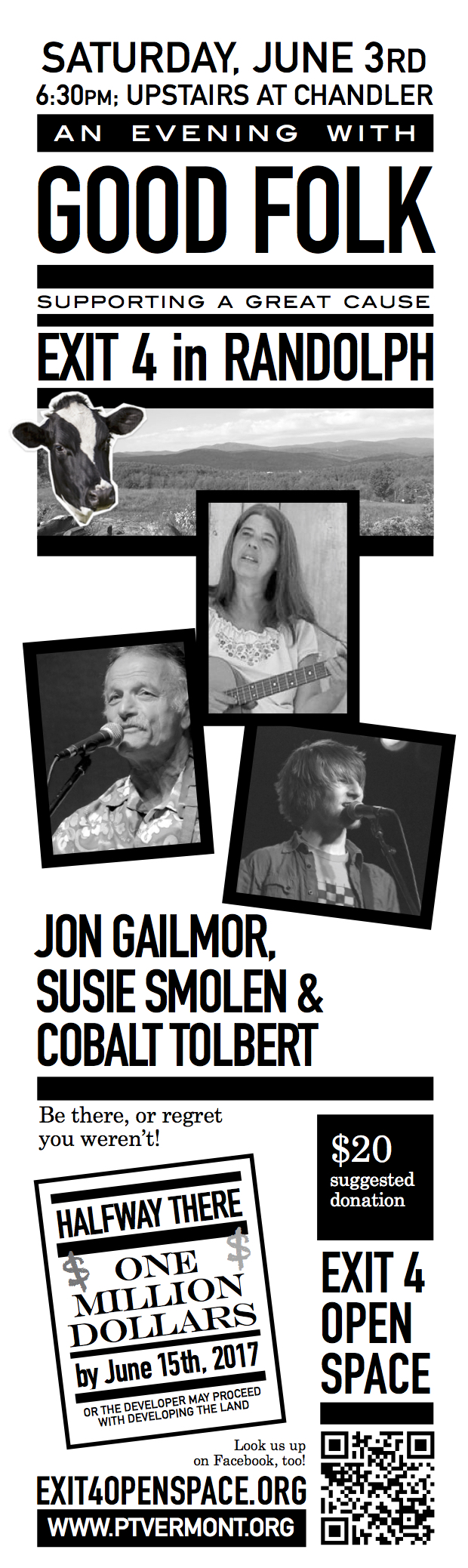 An Evening with Good Folk Supporting a Great Cause_ Starring John Gailmore_ Susie Smolen and Randolphs_s own_ Cobalt Tolbert Saturday_ June 3_ 6_30 pm Upstairs at the Chandler_ Randolph Suggested donation at the door will be _20.
