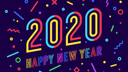 2020_ Happy New Year. Greeting card with inscription Happy New Year 2020. Memphis geometric bright style for Happy New Year 2020 or Merry Christmas. Holiday background_ poster. Illustration