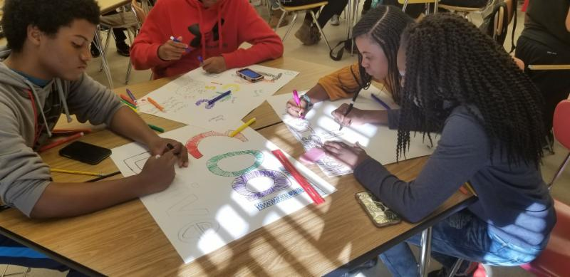 Our EBB programs are kicking off the season of giving and in particular_ our Argyle Middle School Youth Advisory Committee is leading the charge to give to those in need by hosting a Coat and Toiletries Drive_ designed to support our county_s homeless population this winter. Attached are students from the Argyle EBB Youth Advisory Committee working on their signs for their coat_toiletries drive for the homeless. Students are raising awareness for the homeless population and plan to make packages to donate. For more information on how to support the Drive_ please contact Argyle Middle School Recreation Specialist Opal Burgess at opal.burgess_montgomerycountymd.gov.