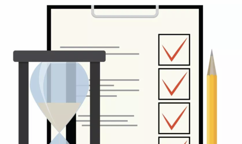 Illustration of hourglass checklist and pencil