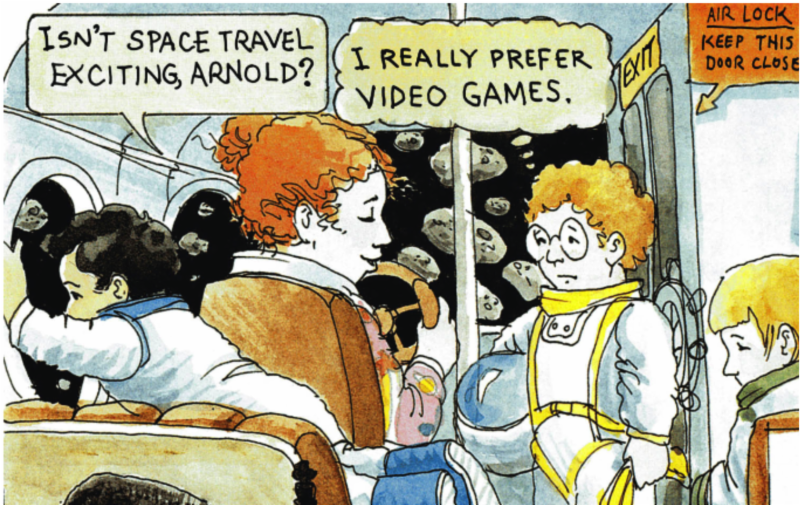 Magic School Bus page of Ms Frizzle talking to Arnold