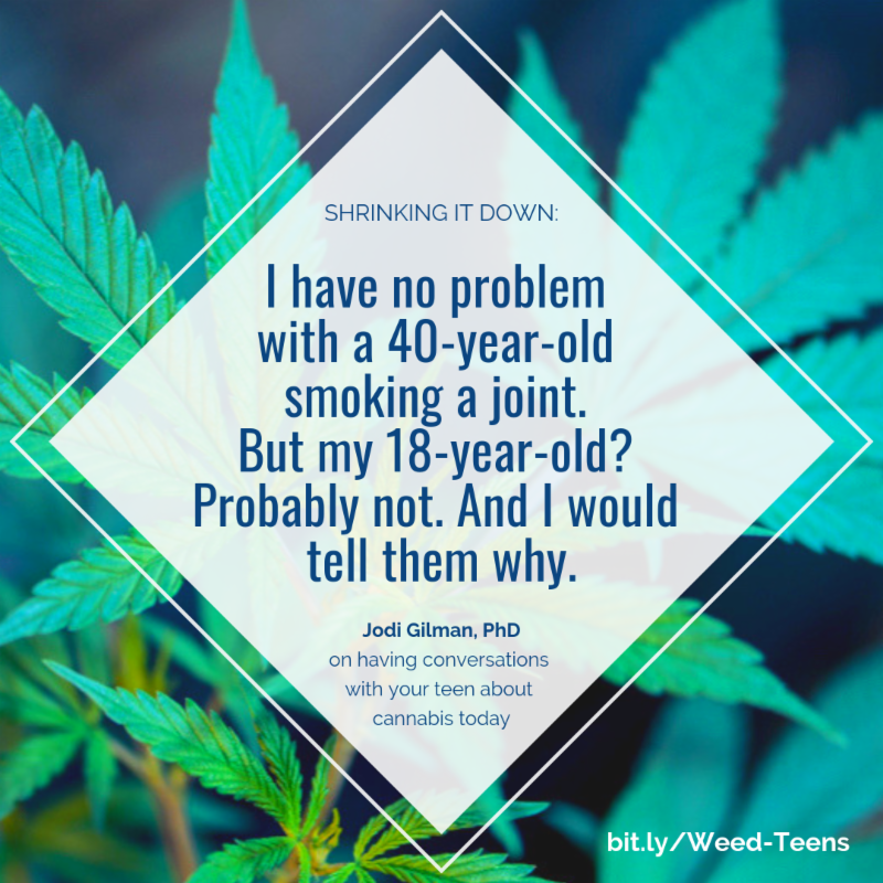 Text over image of marijuana plant - I have no problem with a 40yo smoking a joint. But my 18yo - Probably not. And I'd tell them why.