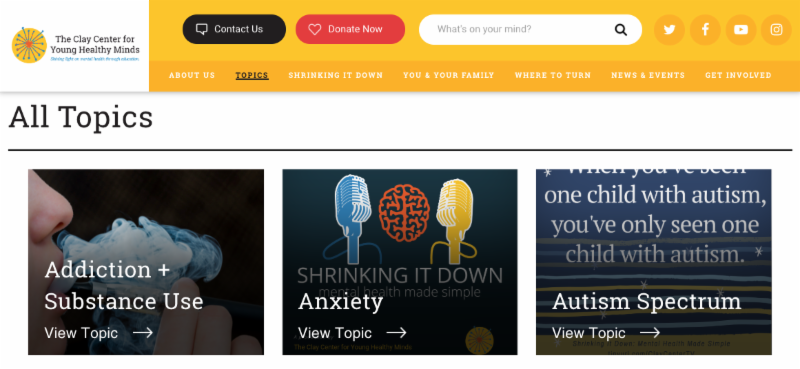 Screenshot from Topics page of Clay Center website
