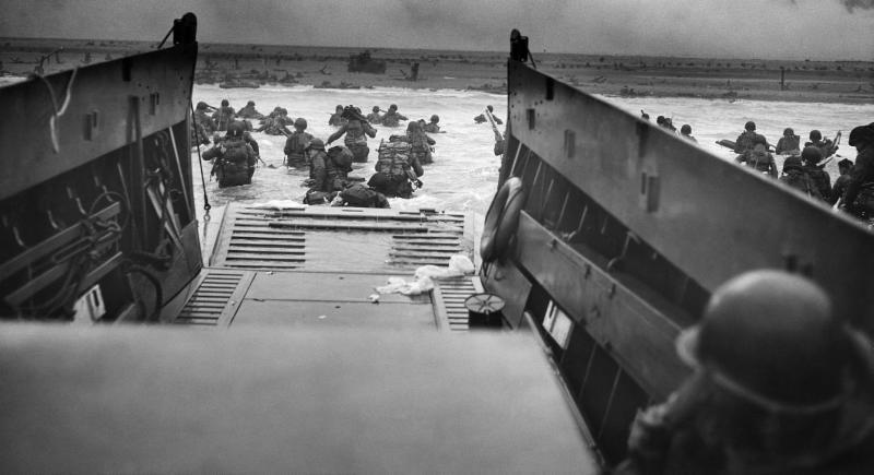 Allied troops landing on D-Day, June 6, 1944.
