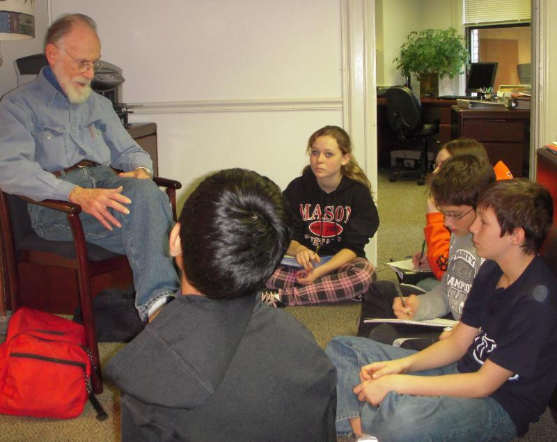 Manhattan Project veteran Norman Brown talking to students
