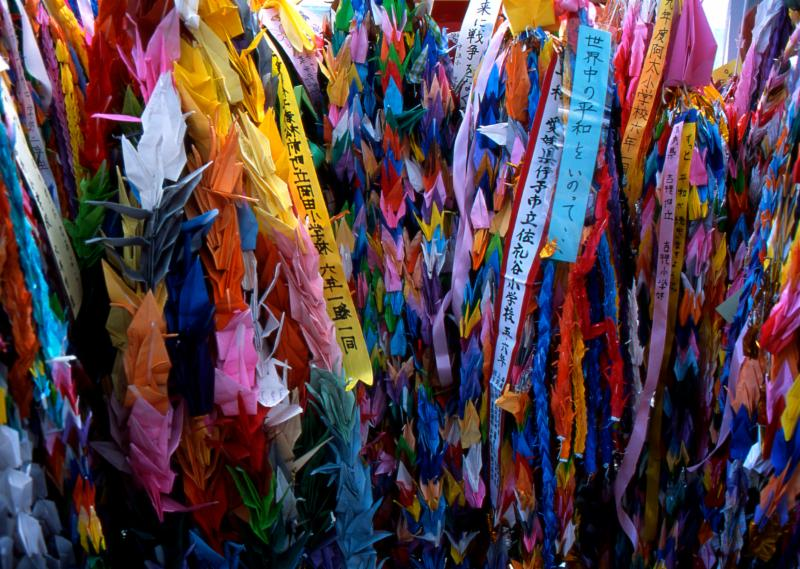 Paper cranes, symbols of peace, in Hiroshima