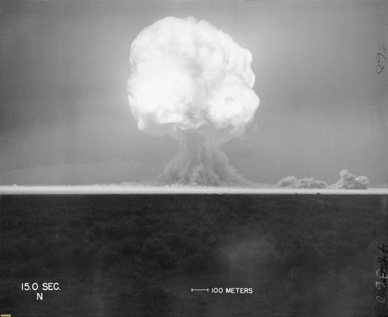 The Trinity Test mushroom cloud. Photograph courtesy of Los Alamos National Laboratory.