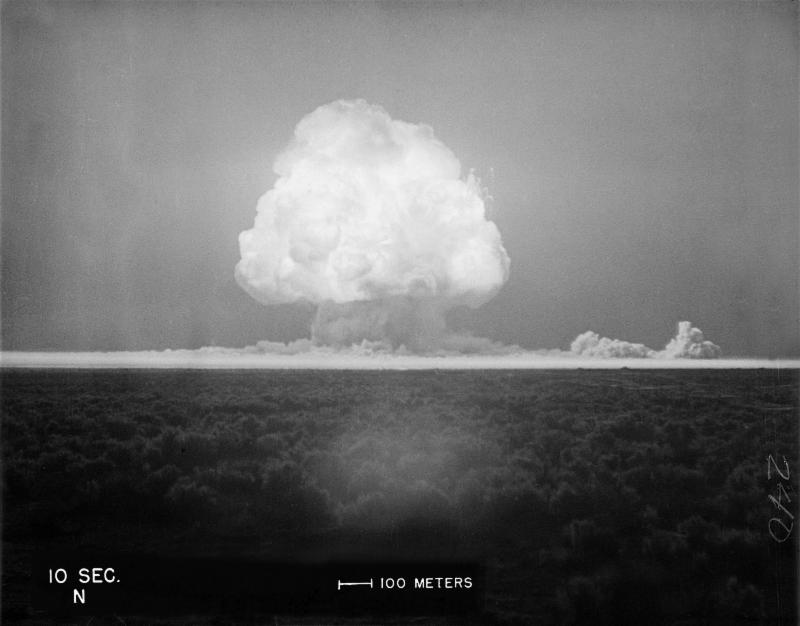 The Trinity Test's mushroom cloud at 10 seconds