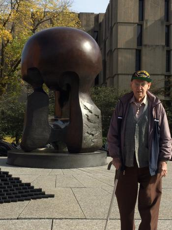 Ted Petry by the Nuclear Energy sculpture at the University of Chicago