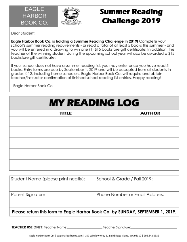 2019 Summer Reading Challenge Eagle Harbor Book Co