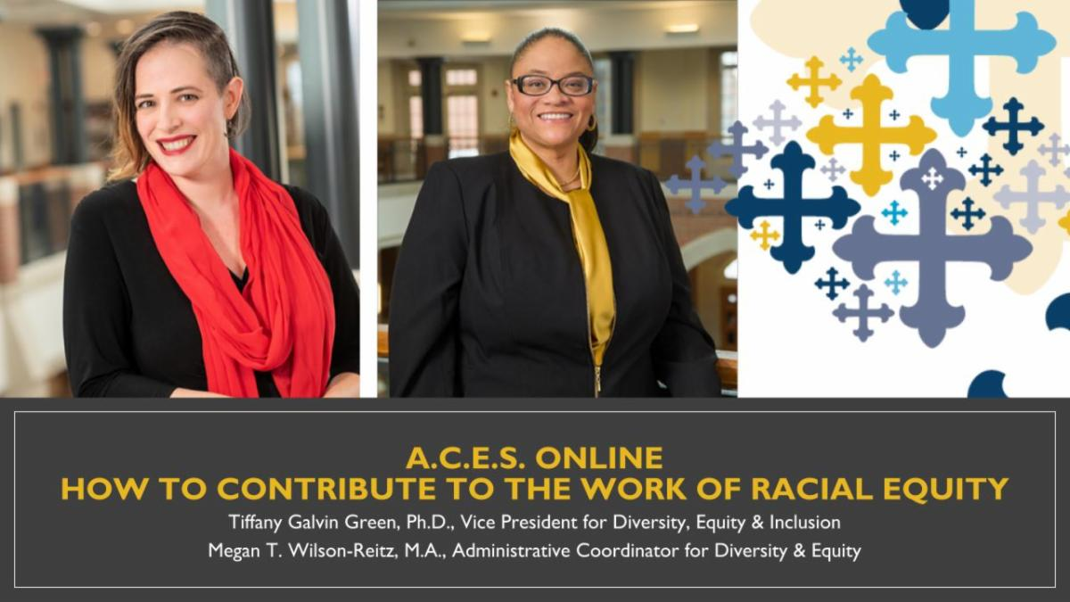 Images of Megan Wilson-Reitz and Dr. Tiffany Galvin Green with names and titles in caption below. Text reads - ACES Online - How to Contribute to the Work of Racial Equity.