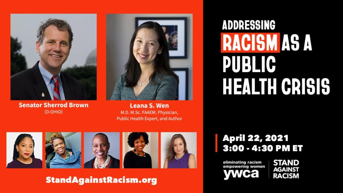 Promo image for YWCA event on Racism as a Public Health Crisis April 22 2021