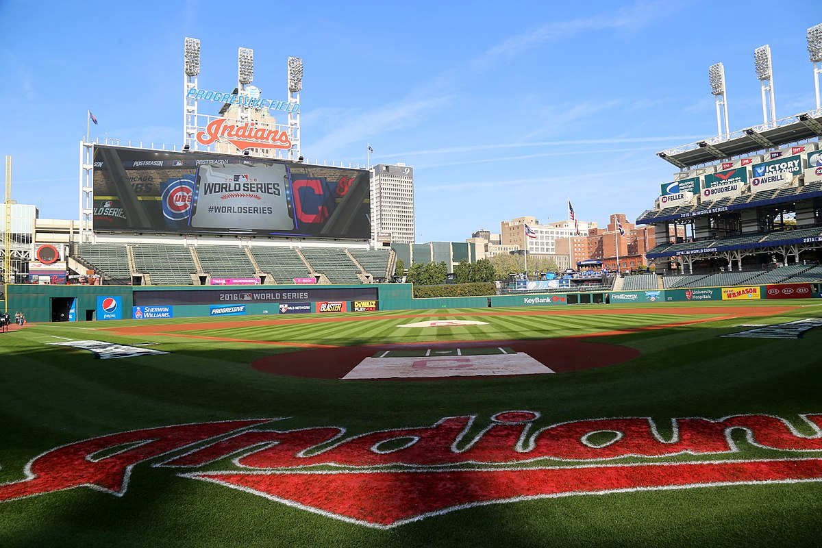 Photo of Progressive field with Indians team name on field and scoreboard