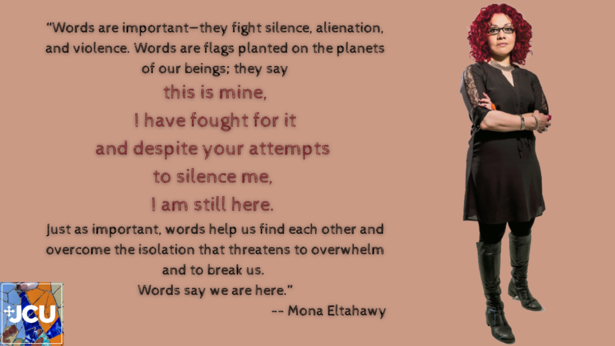 Photo of Mona Eltahawy with quotation - Words are flags planted on the planets of our beings. They say this is mine. I have fought for it. And despite your attempts to silence me I am still here.