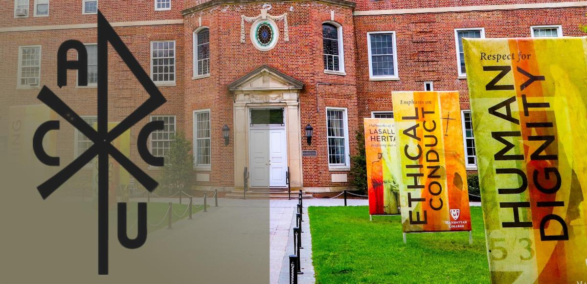 AACU logo superimposed over image of social justice banners in front of a university building