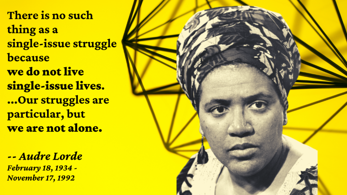 Image of Audre Lorde with quotation - There is no such thing as a single-issue struggle because we do not live single-issue lives. Our struggles are particular but we are not alone.