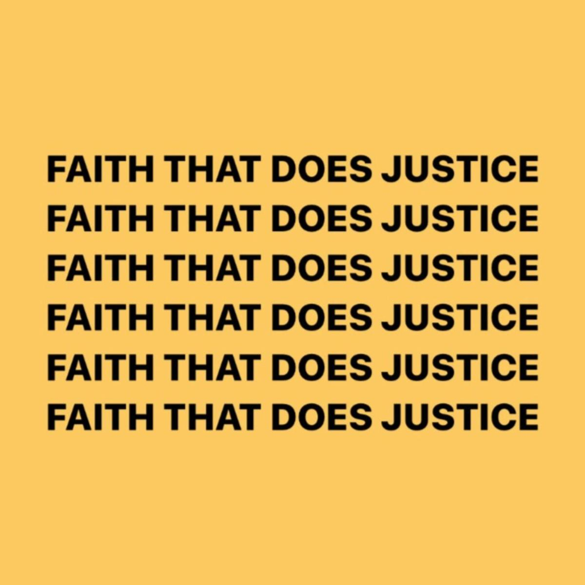 logo for the Faith that Does Justice podcast