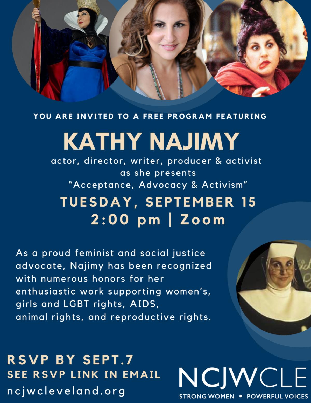 Flyer for Kathy Najimy event