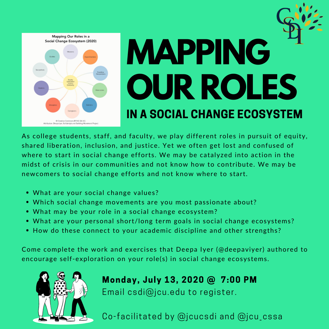 Promotional image for the Mapping our Roles in a Social Change Ecosystem program July 17
