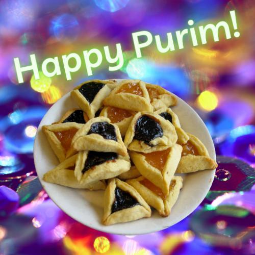 image of hamantaschen cookies with the words Happy Purim