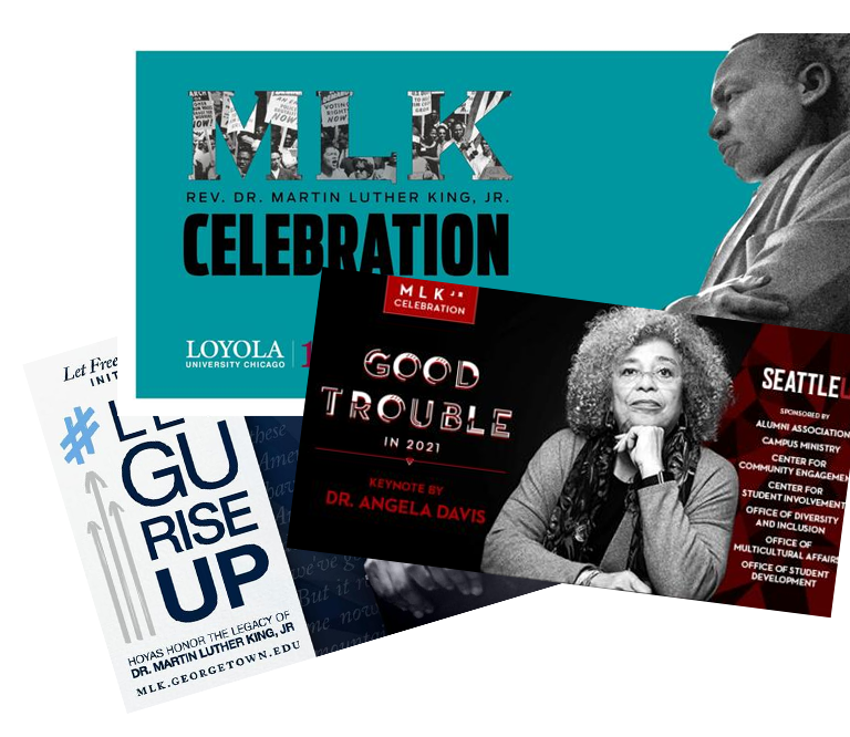 image of multiple promotional images for MLK Day events at AJCU schools