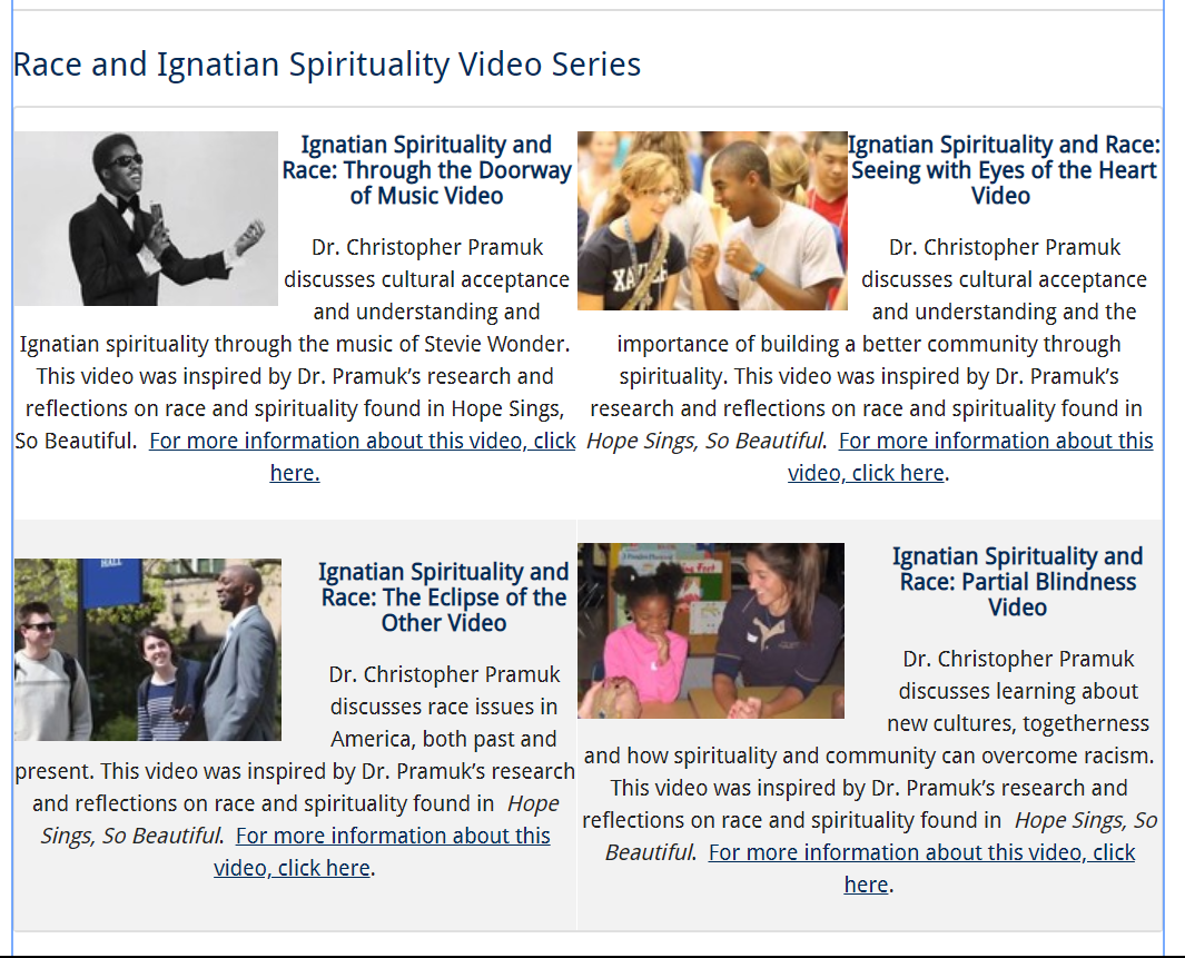 screenshot of website for Race and Ignatian Spirituality video series