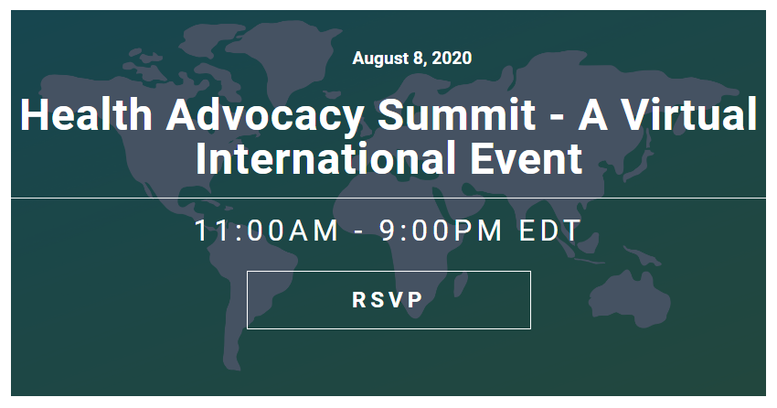 Image of Health Advocacy Summit banner with date and time