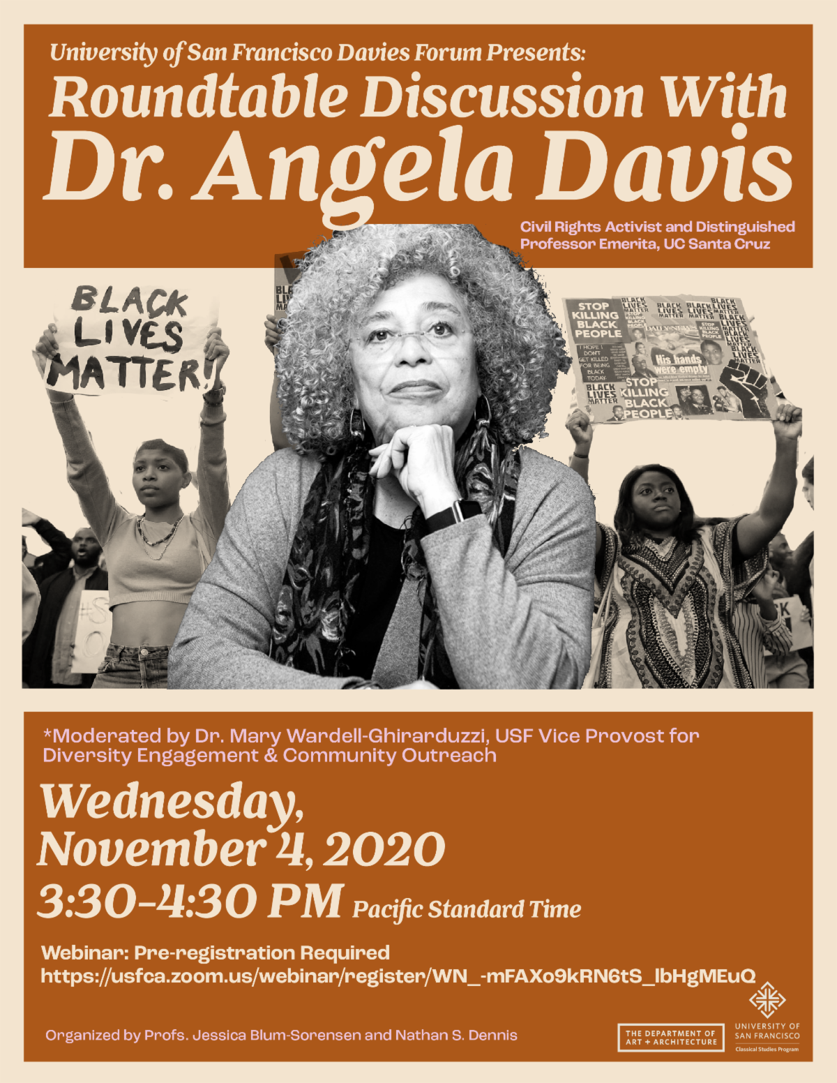 promo flyer for roundtable with Angela Davis at USF November 4