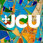 Logo of DEI division - multicolored mosaic with the JCU logo superimposed
