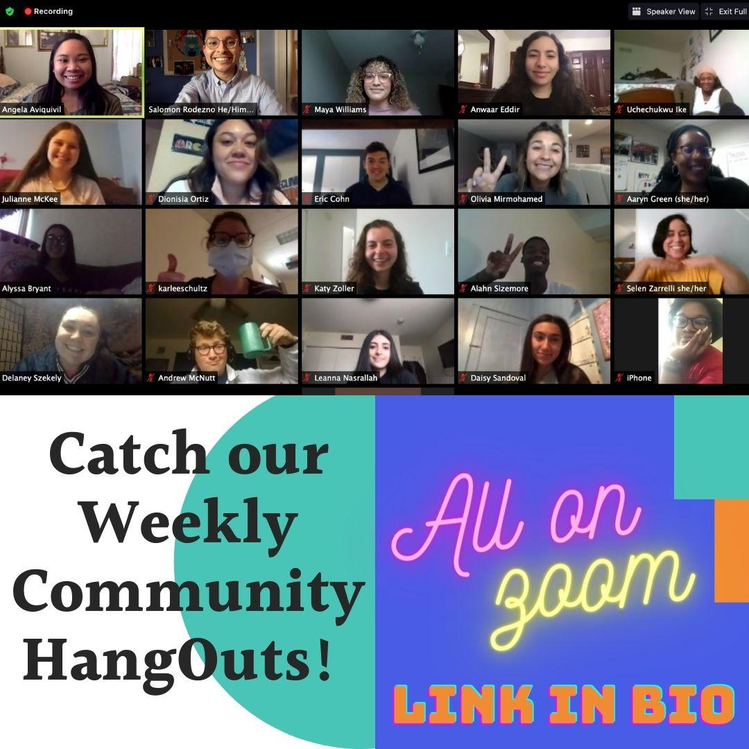 Flyer for Weekly Community HangOuts
