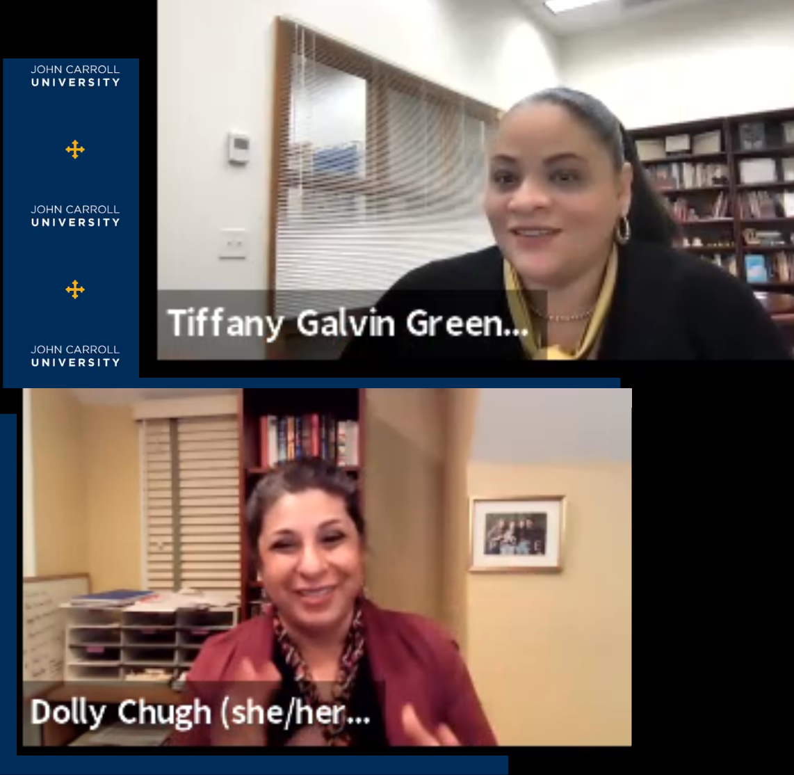 Screenshots from virtual talk on January 26 - images of Dolly Chugh and Tiffany Galvin Green