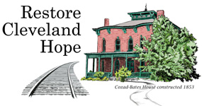logo of Restore Cleveland Hope with drawing of Cozad Bates house and railroad image