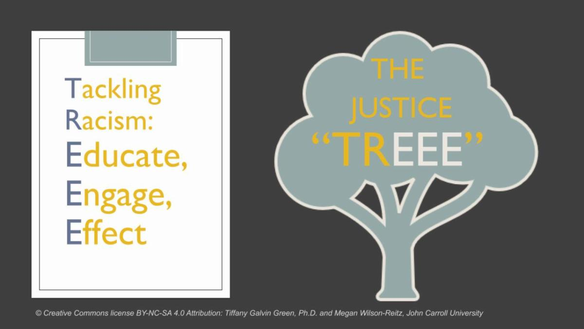 Justice TREEE image with the words - Tackling Racism - Educate - Engage - Effect