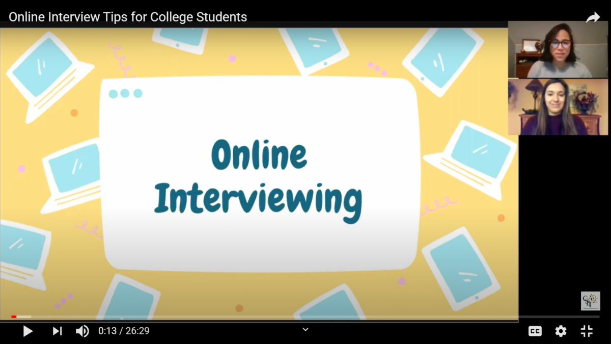 Screenshot of video program on Online Interviewing