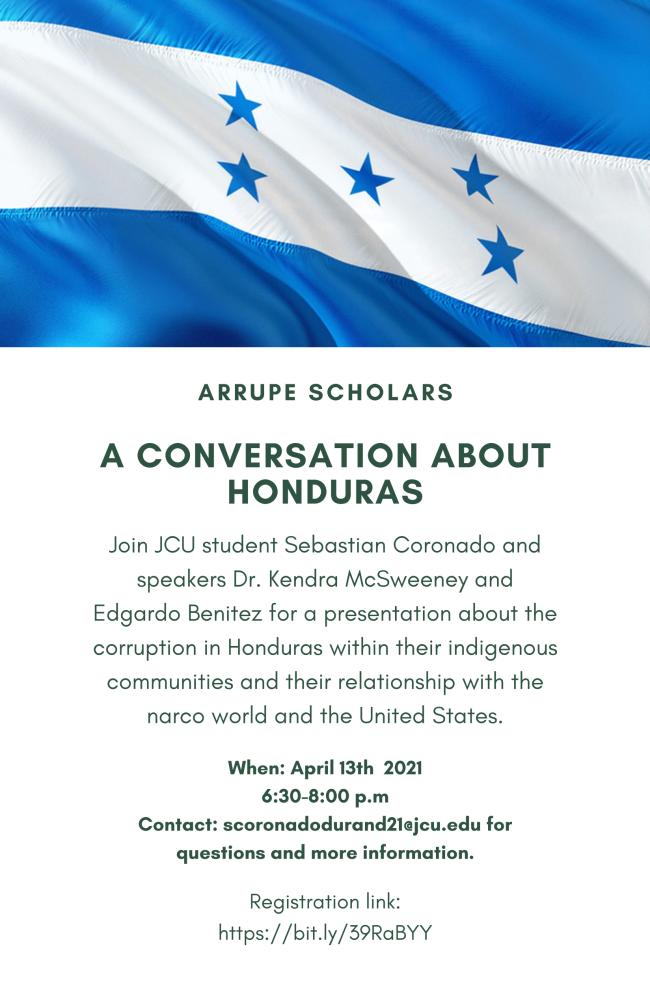 Promotional image for Honduras panel April 13
